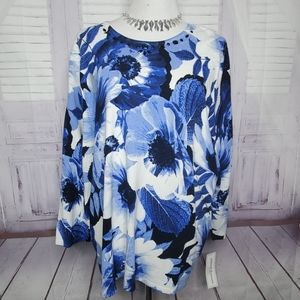 NEW ALFRED DUNNER PLUS SIZE 2X FLORAL SWEATER TOP